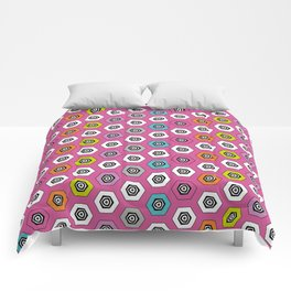 Honey in a pink beehive Comforters