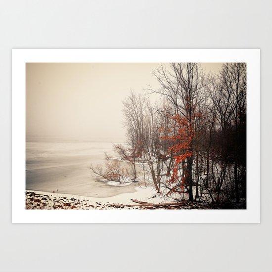 On winters frozen pond Art Print