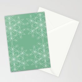 Acapulco Green Geometric Floral Stationery Cards