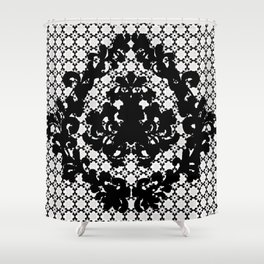 Damask Black and White Victorian Damask Floral Pattern Shower Curtain