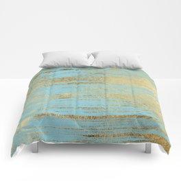 Chic Gold Brushstrokes on Island Paradise Blue Comforters