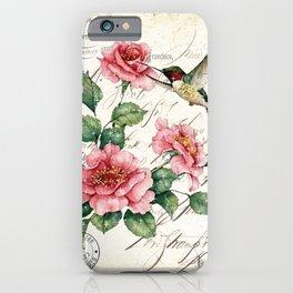 Vintage Roses Print Hummingbird Art Love Quote Rustic Decor Valentine Gift iPhone Case