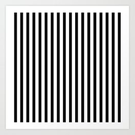 Black & White Small Vertical Stripes - Mix & Match with Simplicity of Life Art Print