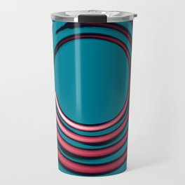 Rough red circles over blue Travel Mug