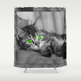 Green Eyed Cat Shower Curtain