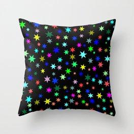 Stars on black ground Throw Pillow