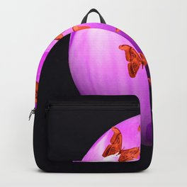 Violet Flower Bud With Apollo Butterflies Illustration On A Black Background #decor #society6 Backpack