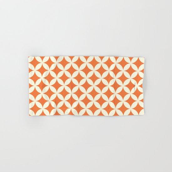 Orange & Cream Geometric Circles Pattern Hand & Bath Towel