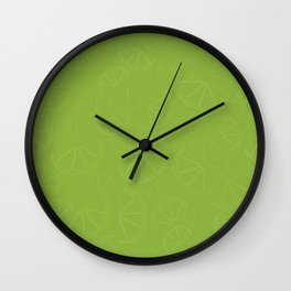 Lemon and Lime Wedges Seamless Pattern Wall Clock