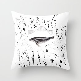 Whale wave Throw Pillow