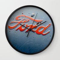 ford Wall Clocks featuring FORD by TMCdesigns