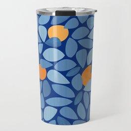 Mangoes - Abstract Blue and Orange Print Travel Mug