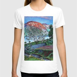 'June Night, Fjord Lakeside, in the Garden' alpine landscape painting by Nikolai Astrup T-shirt