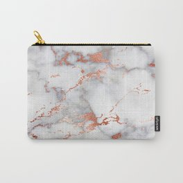 Glam stylish faux rose gold gray abstract blush chic marble Carry-All Pouch