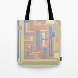 Sandscape graphic design in geometric blue terracotta beige light brown gold Tote Bag