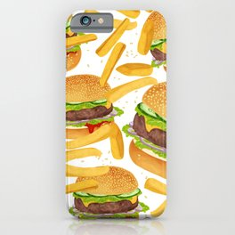 hamburgers and french fries pattern iPhone Case