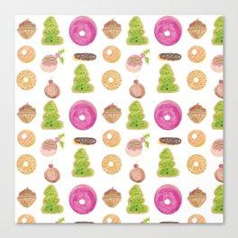 Watercolor Christmas Bakery Treats Donuts Cupcakes Cookies Canvas Print