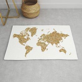 world map white gold Rug