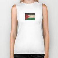palestine Biker Tanks featuring Old and Worn Distressed Vintage Flag of Palestine by Jeff Bartels