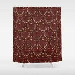Persian Oriental Pattern - Red Leather and gold Shower Curtain