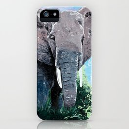 Animal - The big elephant - by LiliFlore iPhone Case
