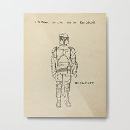 Boba Fett Art Print Illustration, Vintage StarWars, Bounty Hunter, Wall Art, Empire Strikes Back Metal Print