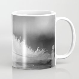 White Feather In Black And White Bokeh Background #decor #society6 #buyart Coffee Mug