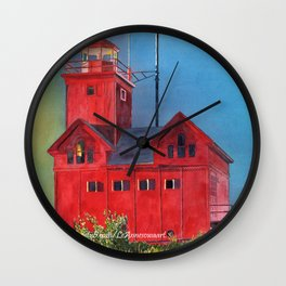 Sunset on Holland Light Focus Wall Clock