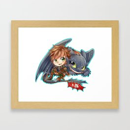 Httyd 2 - Chibi Hiccup and Toothless Framed Art Print