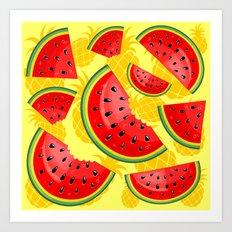 Watermelon and Pineapple Juicy Pattern Art Print