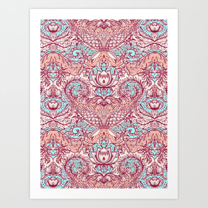Natural Rhythm - a hand drawn pattern in peach, mint & aqua Art Print