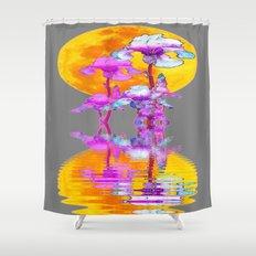 PURPLE-WHITE IRIS MOON REFLECTION Shower Curtain