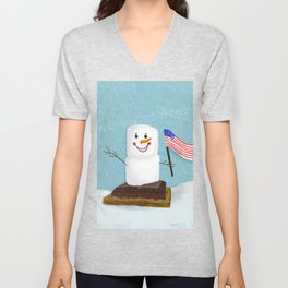 Patriotic S'mores Sledding In Winter Unisex V-Neck