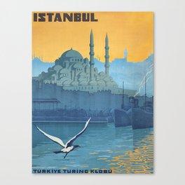 Mid Century Modern Travel Vintage Poster Istanbul Turkey Grand Mosque Canvas Print
