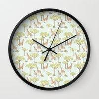 giraffes Wall Clocks featuring Giraffes by Emma Margaret Illustration