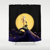 jack skellington Shower Curtains featuring Christmas Nightmare Jack Skellington by Inara