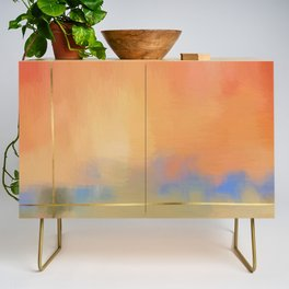 Abstract Landscape With Golden Lines Painting Credenza