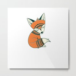 Cute Aztec Tribal Fox Metal Print