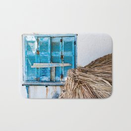 Distressed Blue Wooden Shutters and Beach Umbrella in Crete. Bath Mat
