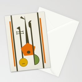 Mid-Century Modern Art Musical Strings Stationery Cards
