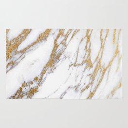 Elegant Creamy White Marble With Luscious Gold Veins Rug