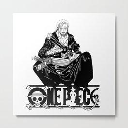 Roronoa Zoro Black and White - OnePiece Metal Print