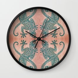Bohemian tribal lizard pattern in teal and terracotta tones Wall Clock