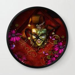 Wonderful venetian mask Wall Clock
