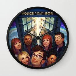 Tardis Doctor Who Team Wall Clock