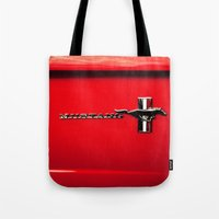 mustang Tote Bags featuring Mustang by Catherine Doolan