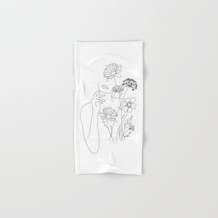 Minimal Line Art Woman with Flowers III Hand & Bath Towel