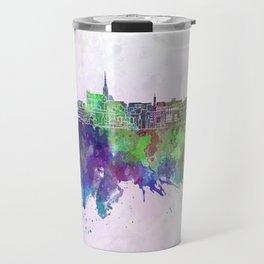 Geelong skyline in watercolor background Travel Mug