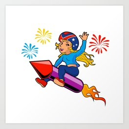 rocket girl cartoon Art Print