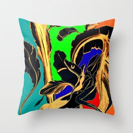 Blue Green Orange Black and Gold, Stand Up Red Throw Pillow